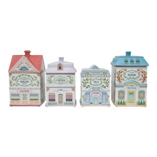 Large Vintage Ceramic House Canister Cookie Jars - Set of 4 For Sale