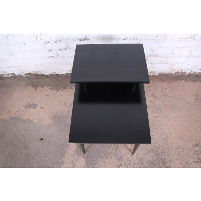 1950s Paul McCobb Planner Group Two-Tier Ebonized End Table or Nightstand, 1950s For Sale - Image 5 of 10