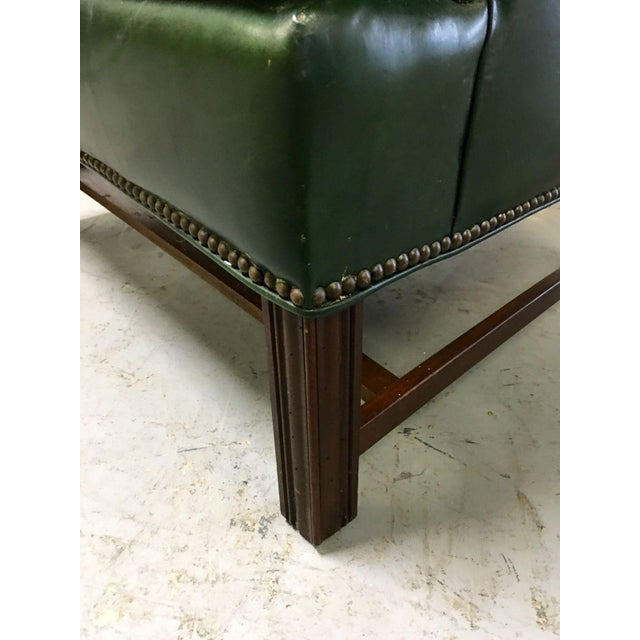 Vintage Green Leather Wingback Chairs - A Pair For Sale - Image 9 of 11