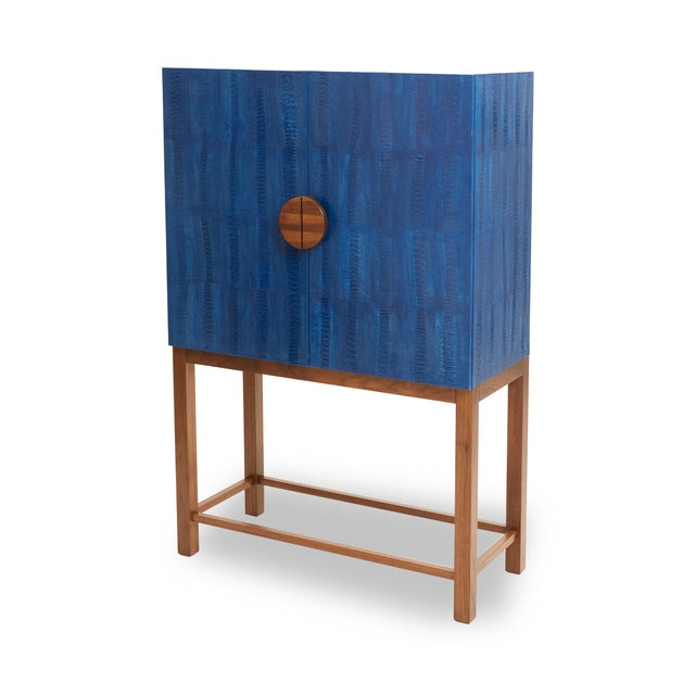 Contemporary Ostrich Skin Ripple Blue Walnut Bar Cabinet For Sale - Image 3 of 4