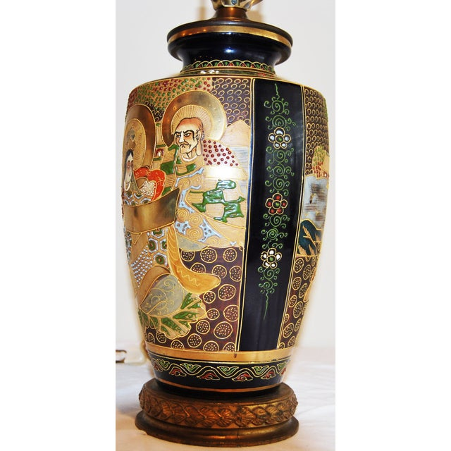 Japanese Satsuma Pottery Vase Table Lamp - Image 2 of 7
