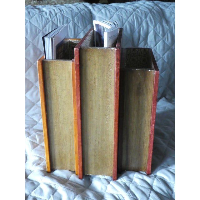 Late 20th Century Late 20th Century Vintage Italian Book Shaped Magazine Rack For Sale - Image 5 of 7