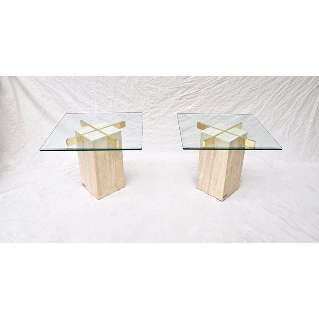 Metal Artedi Travertine Marble Occasional Tables, Pair For Sale - Image 7 of 10