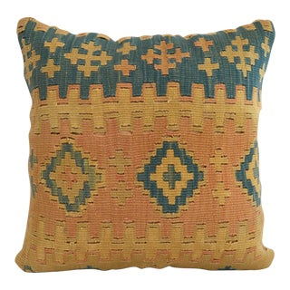 "Antique Handmade Kilim Rug Pillow Cover - 16"" Square For Sale"