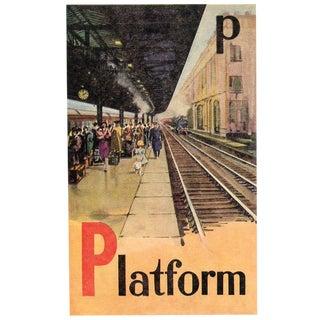 Vintage British Train Alphabet Print - Letter P For Sale