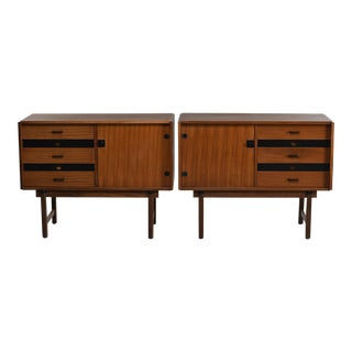 Pair Mid Century Italian Teak Mid Century Cabinets For Sale