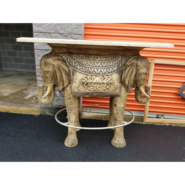 Boho Chic Style Elephant Bar/Table For Sale - Image 4 of 9