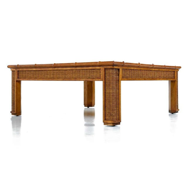 Mid-Century Modern 1970s Modern Glass Panel Reed Rattan Bamboo Coffee Table For Sale - Image 3 of 8