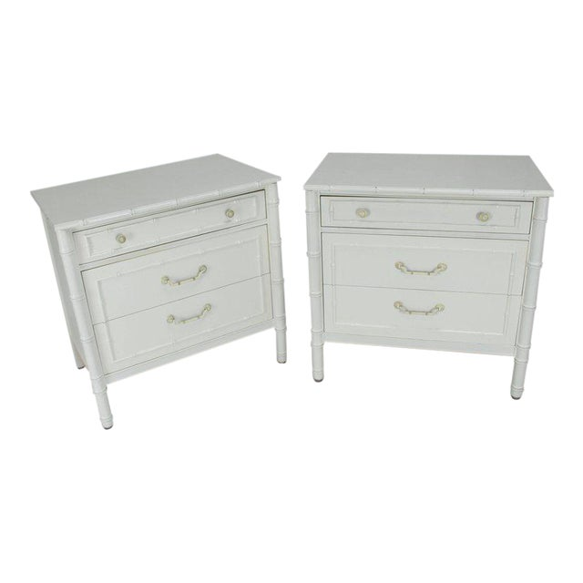 Mid-Century Modern White Lacquer Faux Bamboo Nightstands - a Pair For Sale - Image 10 of 10