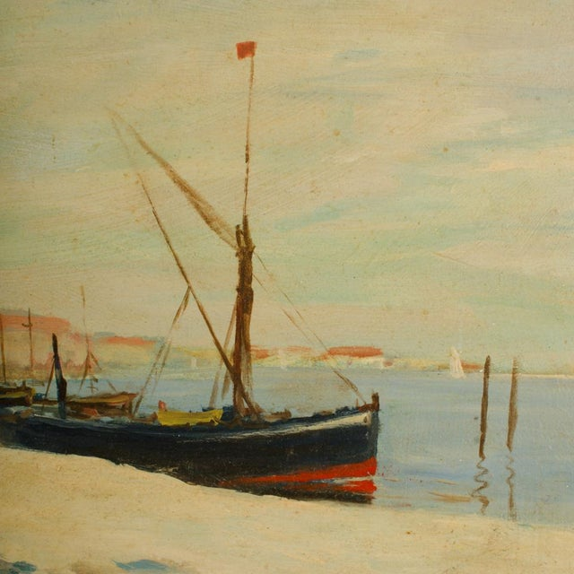 Canvas Early 20th Century Harbor Scene Oil Painting by William Fraser, Framed For Sale - Image 7 of 10