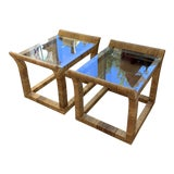 Image of 1980s Boho Chic Rattan Side Tables - a Pair For Sale