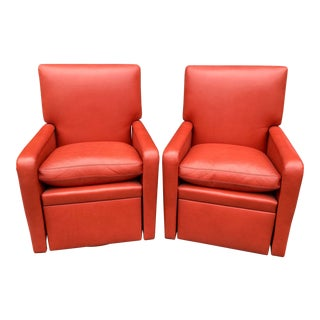 Lipstick Red Leather Reclining Swivel Thomas De Angelis Club Chairs - a Pair For Sale