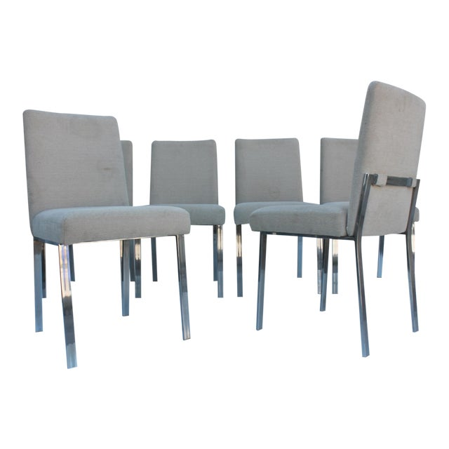 Milo Baughman Chrome Dining Chairs - Set of 6 - Image 1 of 11