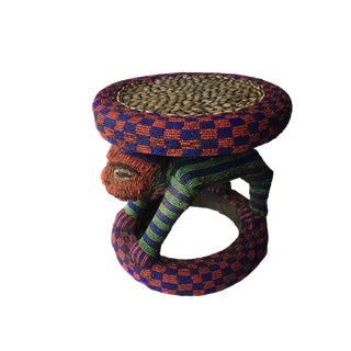 "African Beaded Wood Bamileke Stool /Table Cameroon 16.5'""h For Sale"