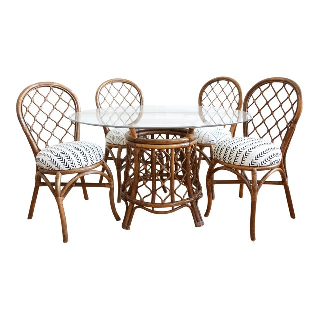 Bamboo Dining Table with Mudcloth Chairs - Set of 5 - Image 1 of 11