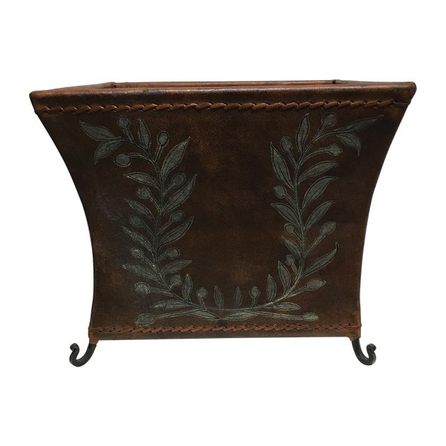 Transitional Brown Leather Planter - Image 1 of 5