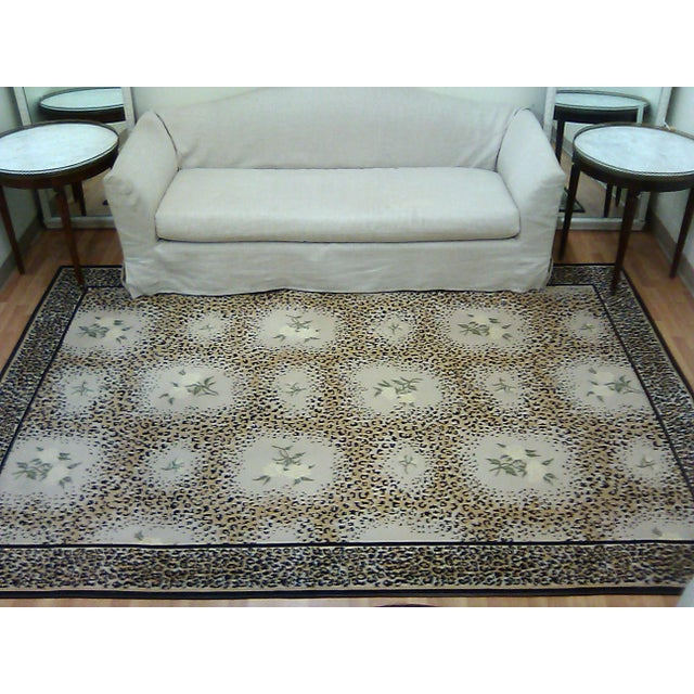 2010s Stark Studio Limited Edition-White Rose/ Leopard Print Rug For Sale - Image 5 of 7