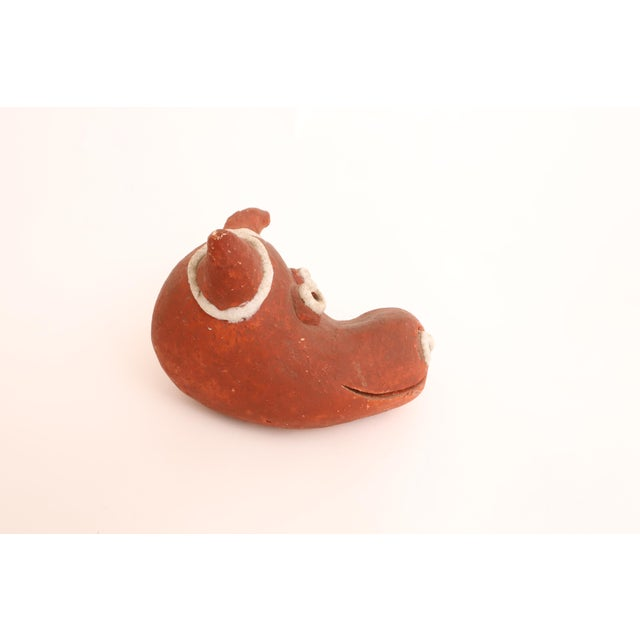 Folk Art Mid-Century Modern Handmade Studio Pottery Bull For Sale - Image 5 of 7