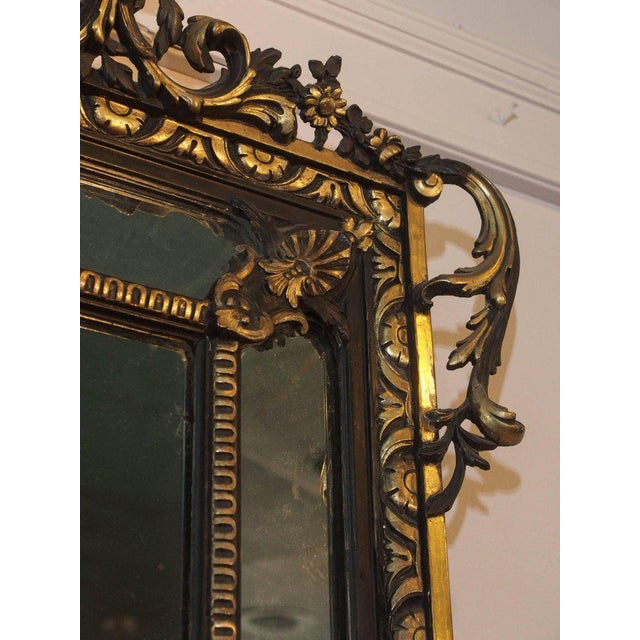 Mid 19th Century Antique French Giltwood & Ebonized Mirror For Sale - Image 5 of 7