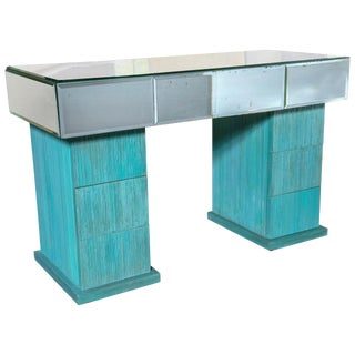 1940s Vintage Turquoise and Mirrored Dressing Table For Sale