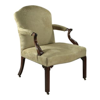 Fine Early George III Carved Mahogany Gainsborough Open Armchair For Sale
