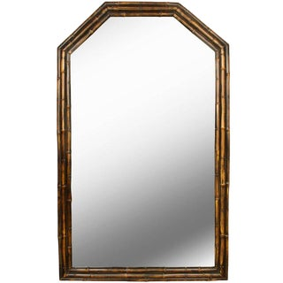 1950s Vintage English Bamboo Mirror For Sale
