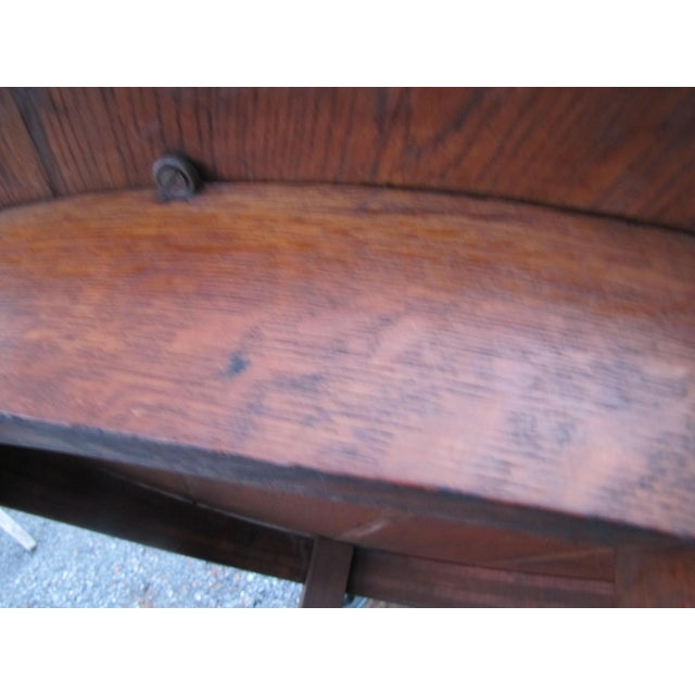 1900s Mission L&jG Stickley Round Leather Top Center Table For Sale - Image 11 of 13