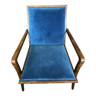 Dovetail Eliz Blue Velvet Occasional Chair With Wood Frame For Sale