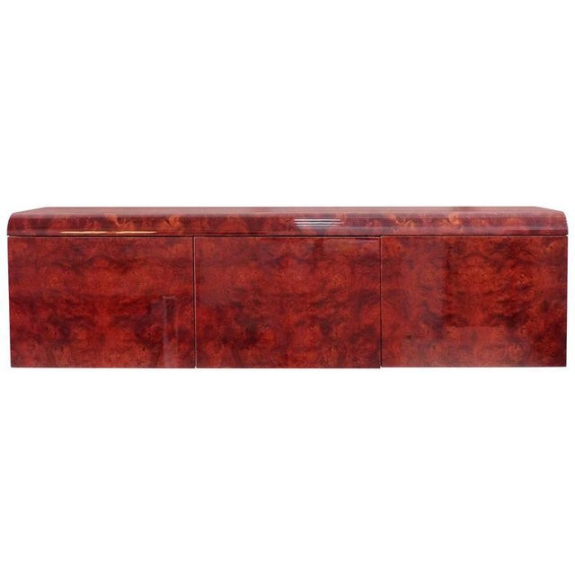 Leon Rosen Pace Hanging Burl-Wood Credenza For Sale - Image 11 of 11
