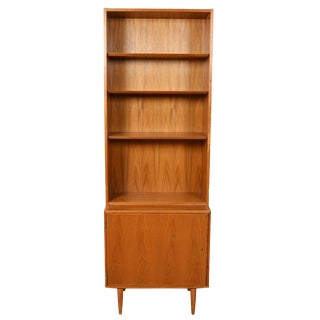 Danish Modern Locking Cabinet With Bookcase Top in Walnut For Sale
