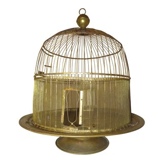 Vintage Hendryx Brass Beehive Bird Cage Display Table Art Arrangement For Sale