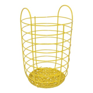 20th Century Abstract Yellow Metal Basket For Sale