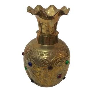 Floral Ornate Jeweled Brass Vase For Sale