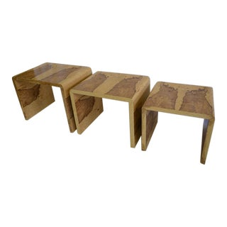 Modern Sycamore Burlwood Nesting Tables - Set of 3