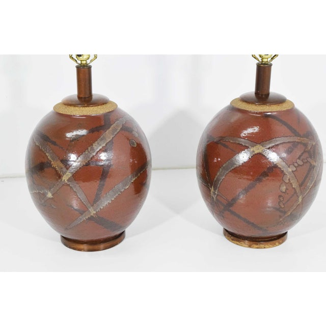 Brent Bennett Ceramic Glaze Table Lamps - a Pair For Sale - Image 10 of 11