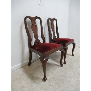 1980s Vintage Henkel Harris Mahogany Queen Ann Chippendale Dining Room Side Chairs- A Pair Preview