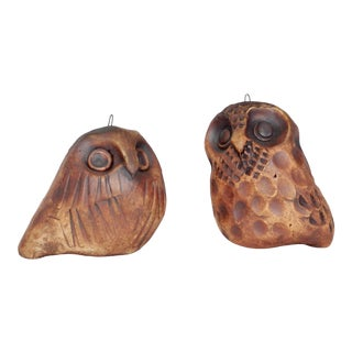 Vintage Pottery Owl Ornaments - a Pair For Sale