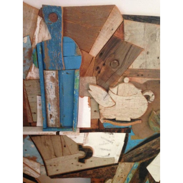 Abstract Abstract Wood Collage by Felice Antonio Botta, Italy, 20th Century For Sale - Image 3 of 9