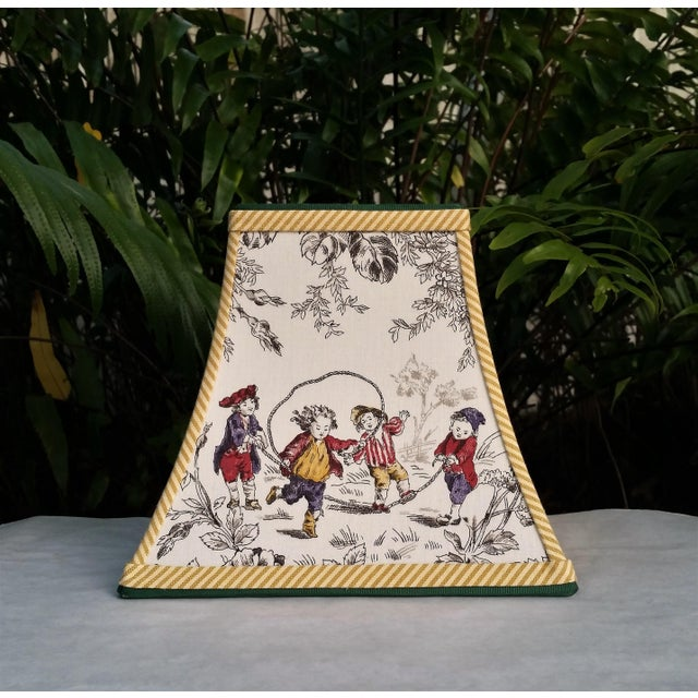 Toile Lampshade French Country Square Bell For Sale - Image 11 of 11