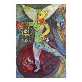 "Marc Chagall Vintage 1947 Rare Limited Edition French Lithograph Print "" L' Acrobate "" For Sale"