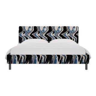California King Tailored Platform Bed in Blue Wave For Sale