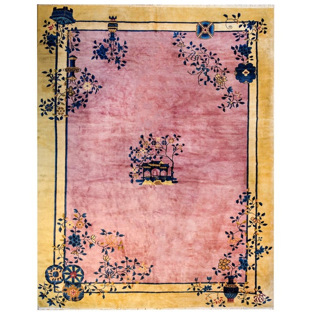 Rose Gorgeous Chinese Art Deco Rug For Sale - Image 8 of 8