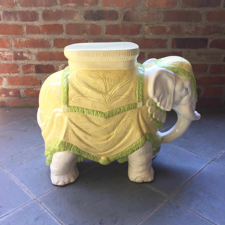 Mid Century Italian Ceramic Elephant Garden Stool   Image 2 Of 10