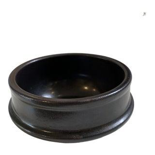 Vintage 1980s Black Pottery Bowl For Sale
