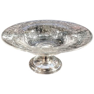 19th Century Edwardian Hawkes Cut Glass and Sterling Silver Center Bowl For Sale