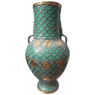 Large Moroccan Turquoise & Inlaid Copper Urn / Jar For Sale