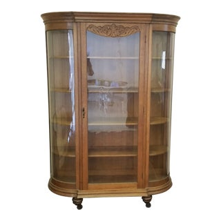 Early 20th Century Art Nouveau Oak China Cabinet Curio For Sale