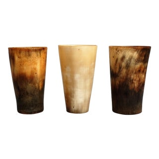 19th-C. English Horn Stirrup Cups - Set of 3 For Sale