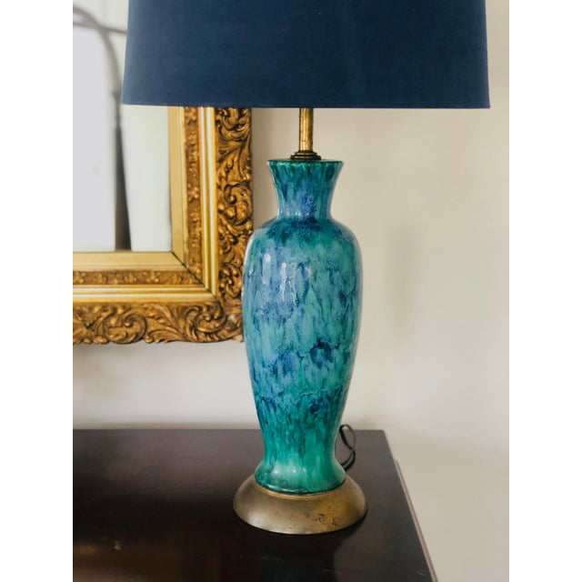 Mid-Century Modern Blue Splatter Glaze Ceramic Lamps With Shades - a Pair For Sale - Image 4 of 7