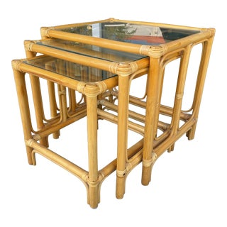 Set of 3 Bamboo Nesting Tables From 80's For Sale